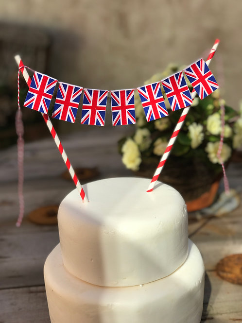 Bright Union Jack cake bunting topper