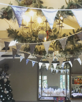Silver Sequin bunting at Blagdon Parlour