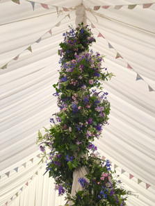 Vintage style bunting in a marquee