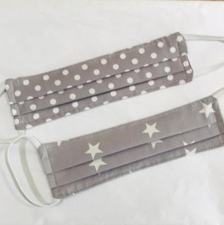 Grey stars and polka dots face masks