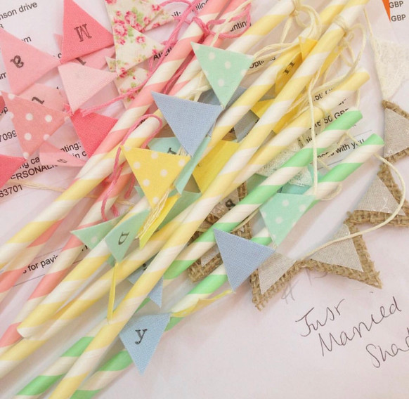 Summery colours for our mini cake bunting