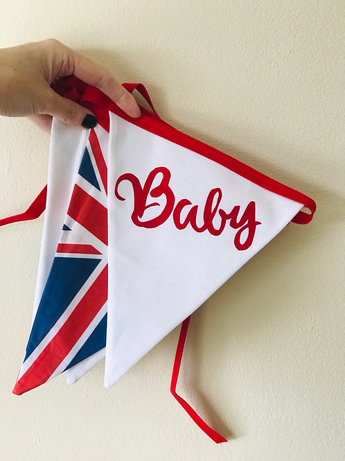 """Baby"" announcement bunting"