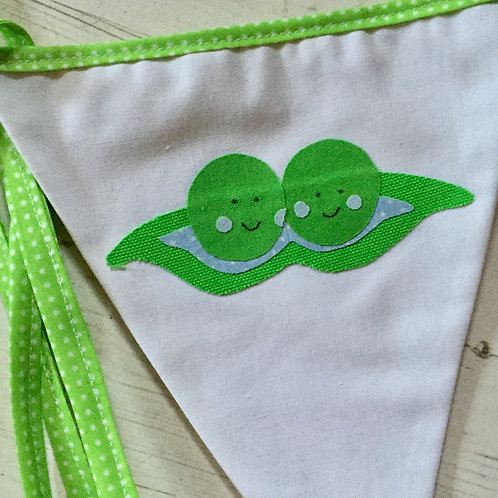 "Twins ""Two Peas in A Pod"" baby shower bunting"