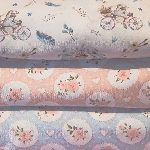 "John Louden pastel ""Flowers and Hearts"" and ""Cycling Rabbits"" cotton fabric - FQ"