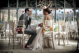Rainbow wedding bunting at Alnwick Garden