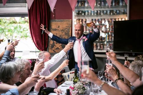 Rose pink wedding bunting at the Londesborough photo credit Samantha Brannan Photography