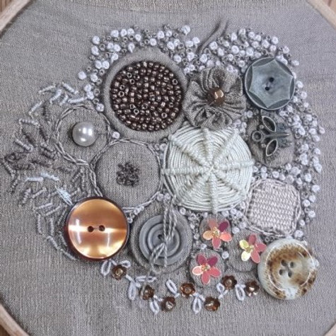 Encrusted buttonwork with Sandra and Katherine - Wed 14th October