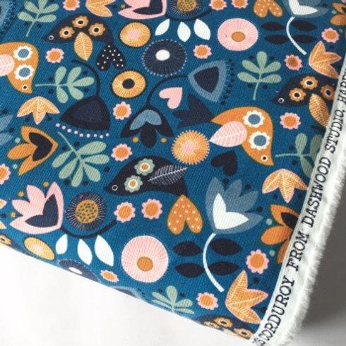 Dashwood Corduroy Print - Teal Flowers