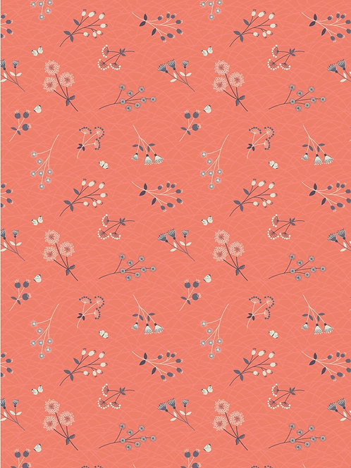 Hedgerow Flowers on Peachy Coral