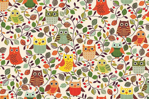 Forest Friends - Owls in Cream