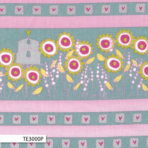 Hearts and Happy Flowers -Birdhouse Border in Pink