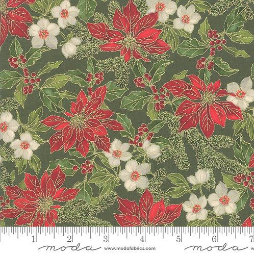 Poinsettias and Pine Metallic - Poinsettias on Evergreen