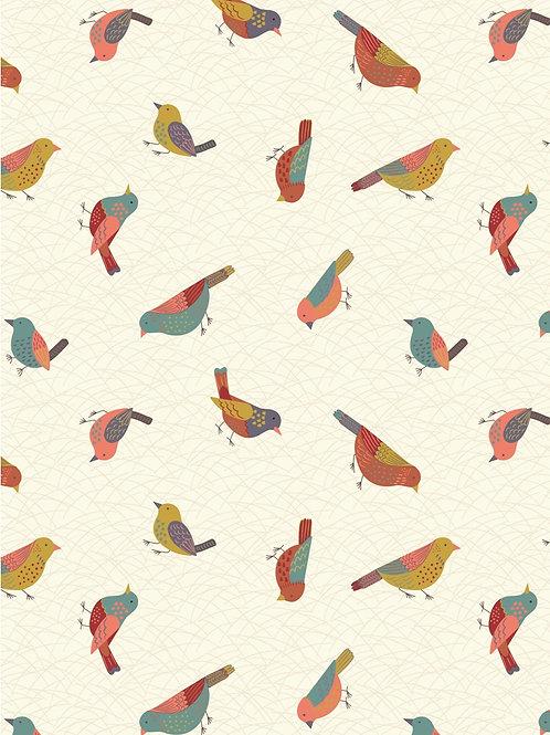 Hedgerow Birds on Cream