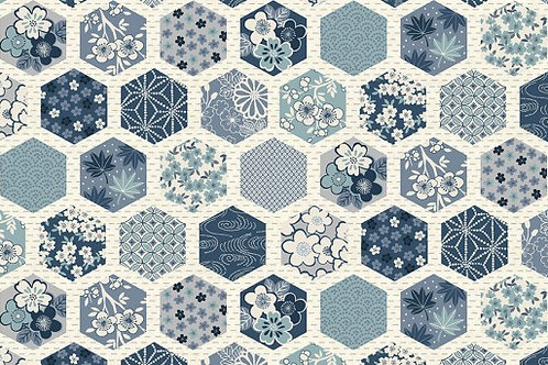 Indigo - Hexagons in Cream