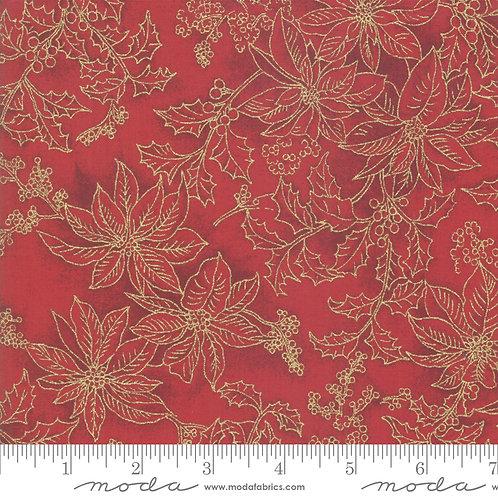 Poinsettias and Pine Metallic - Poinsettia Outlines on Crimson
