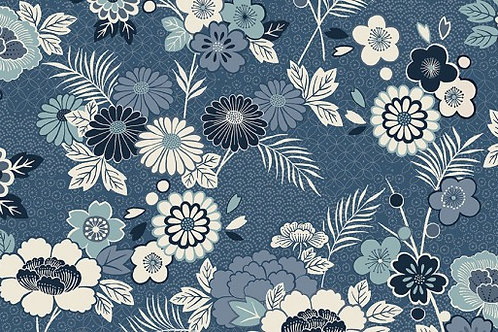 Indigo - Floral Montage in Blue