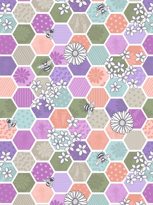 Bee Kind - Bee Hexagons Greens