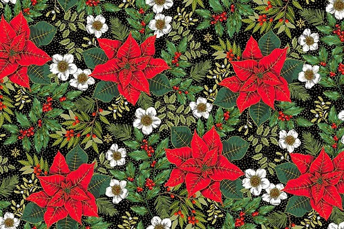 Deck the Halls - Large Poinsettia in Black