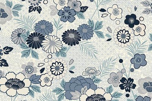 Indigo - Floral Montage in Cream