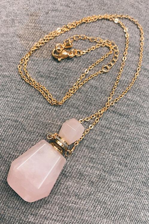 Rose Quartz perfume oil bottle necklace