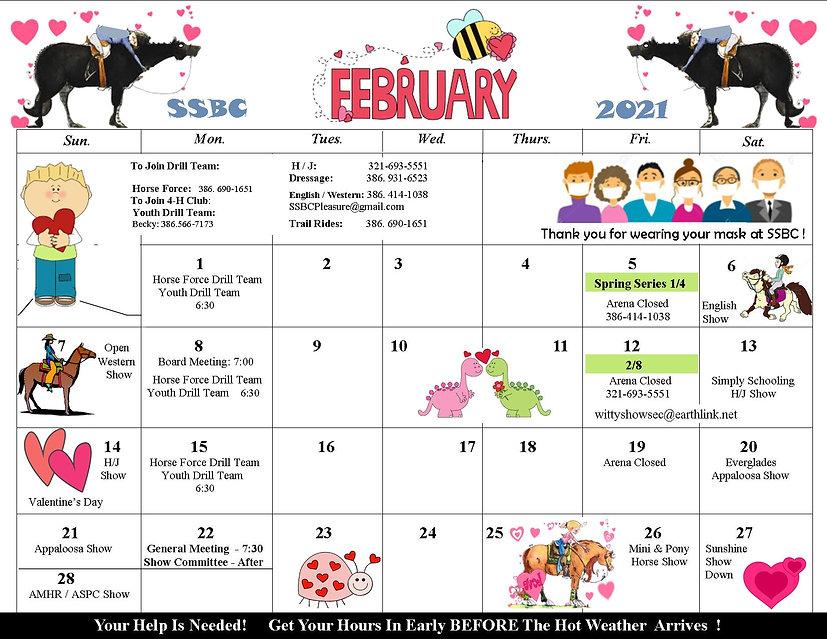 SSBC - Calendar  -  2021 - February revi