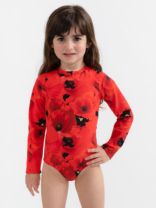 Mini Red Poppy long sleeves one piece