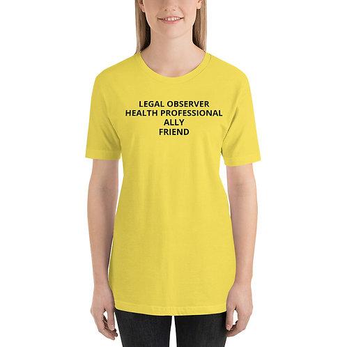 Camiseta unisex observador legal aliado profesional de la salud