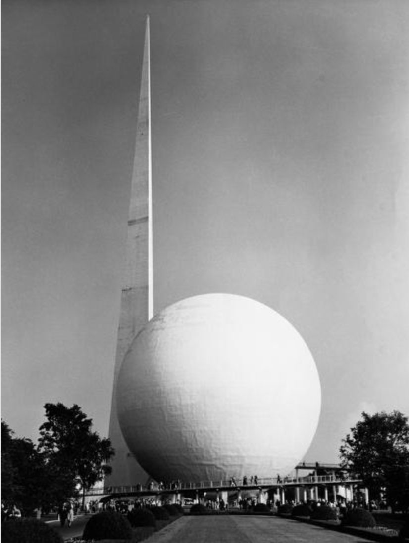 Trylon and Perisphere, 1939 New York Worlds Fair.
