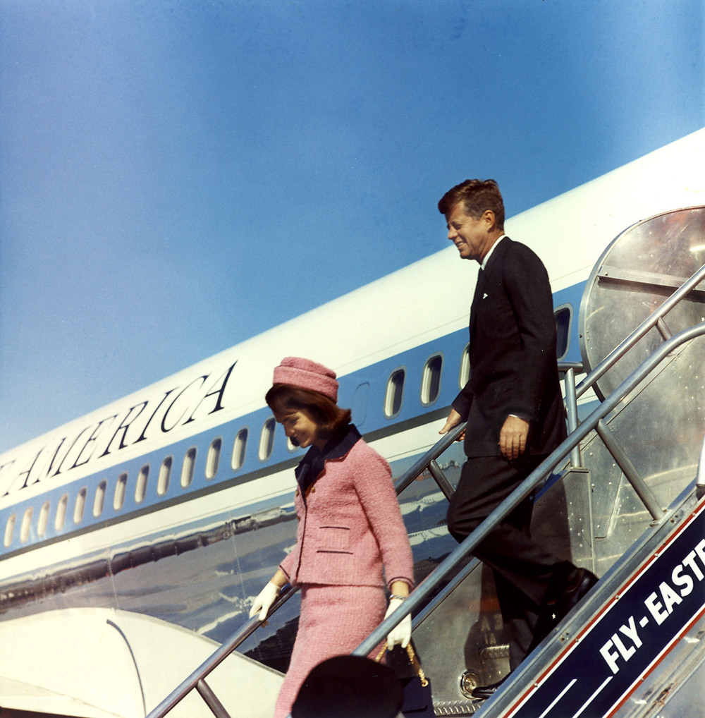 President and Mrs. Kennedy exit Air Force One, November 22, 1963