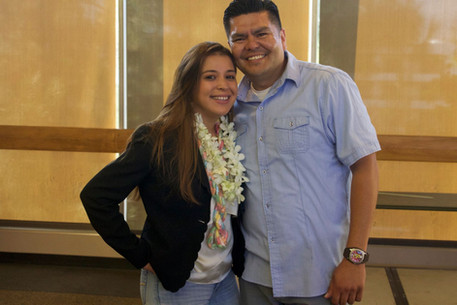 Program Director Jorge Camarena with Judena who recently finished her master's degree at Cal State LA