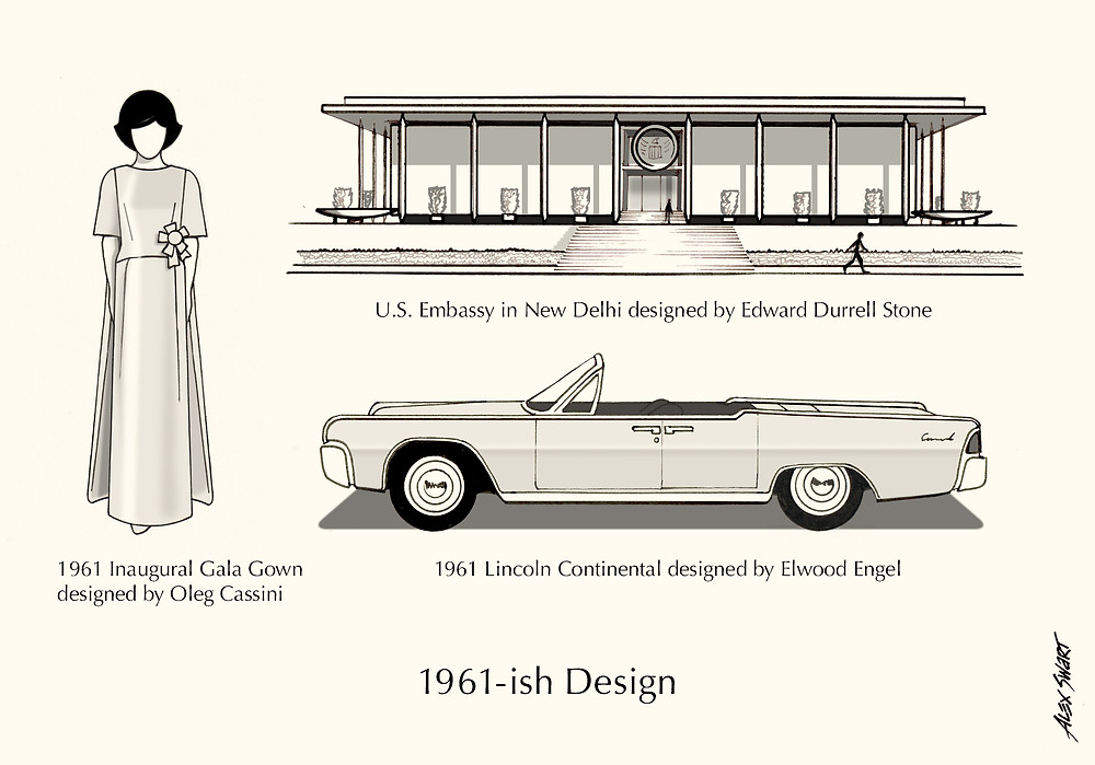 1961-ish Design. U.S. Embassy in New Delhi, 1961 Lincoln-Continental, 1961 Inaugural Gala gown.