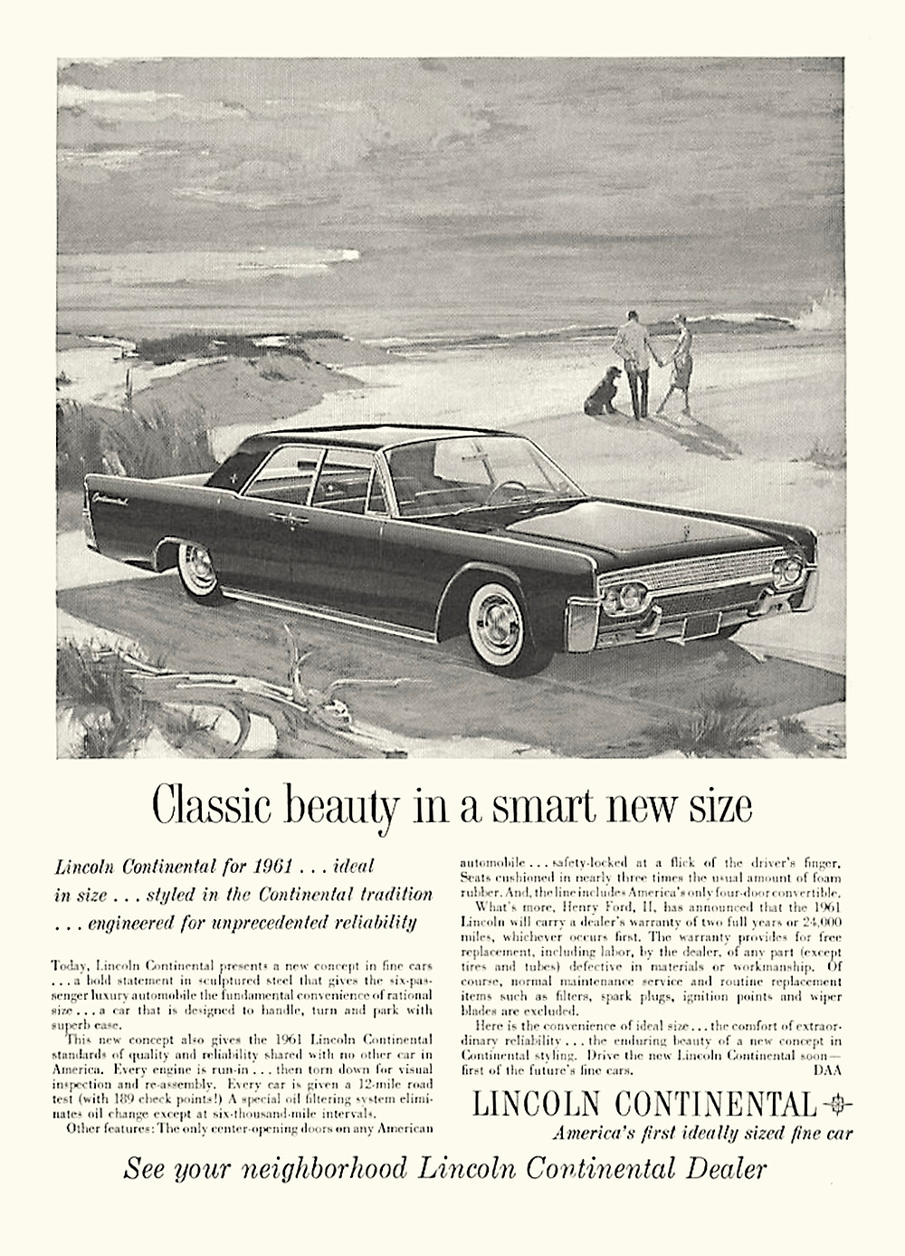 Classic Beauty in a Smart New Size, 1961 Lincoln Continental print ad.