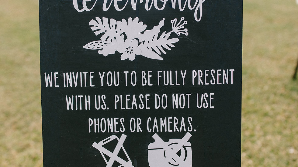 Unplugged Ceremony Sign Rental
