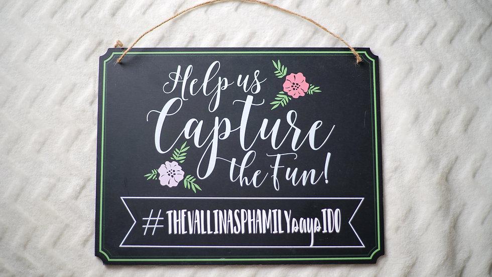 """Capture the Fun"" Hashtag Sign Rental"