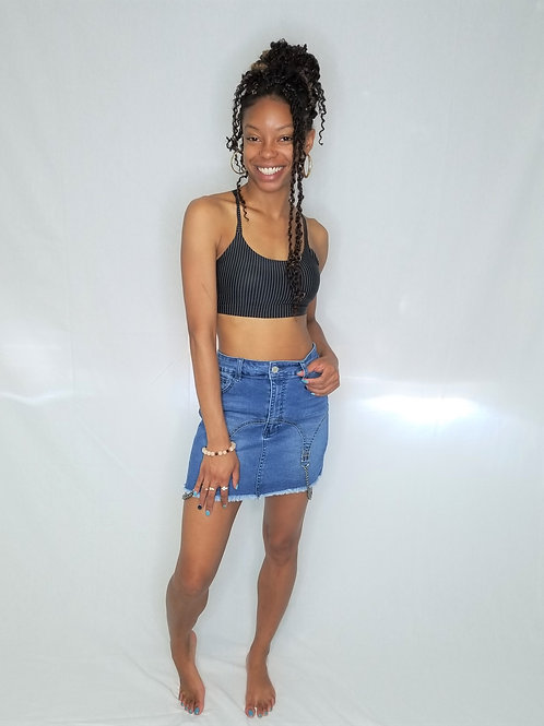 Chained Up Denim Skirt
