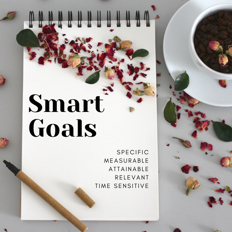 Notebook - smart goals that are specific, measurable, attainable, relevant and time sensitive