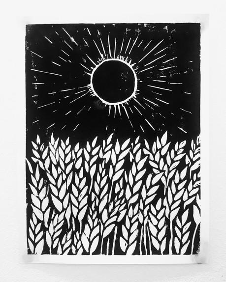 Woodcut Print on Paper, 15cm x 21cm, March 2017