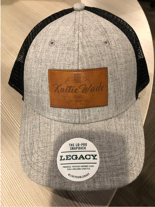 Kaitie Wade Signature Grey and Black Mesh Trucker Hat With Leather Accents