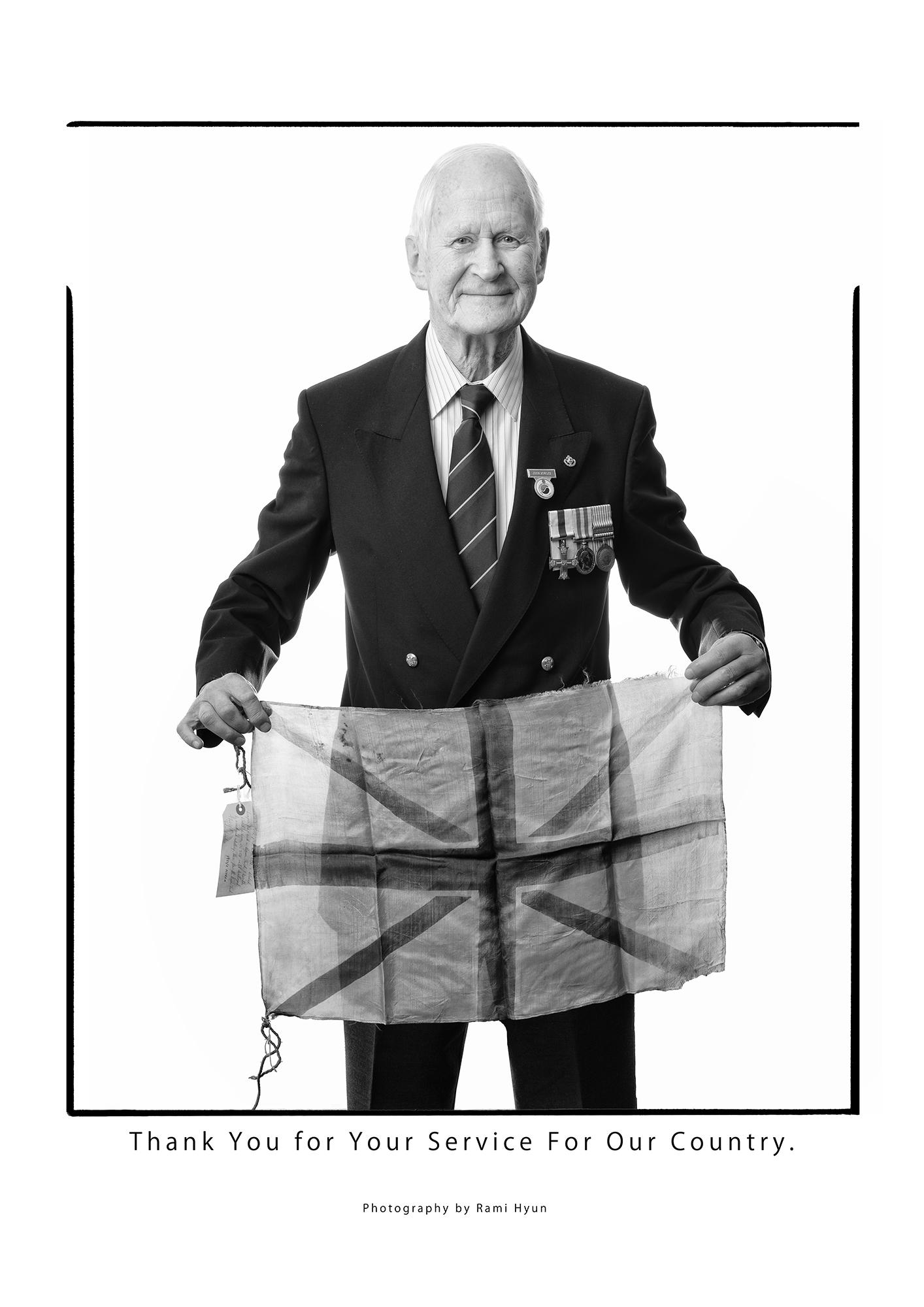 John Bowler MC (with flag)
