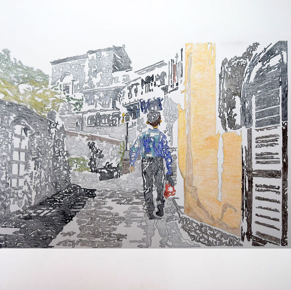 A Day in Savoca_Colored Pencils on Canva