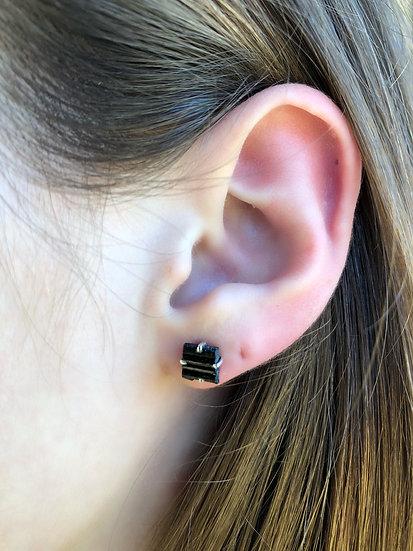 Black Tourmaline Earrings 100% Sterling Silver