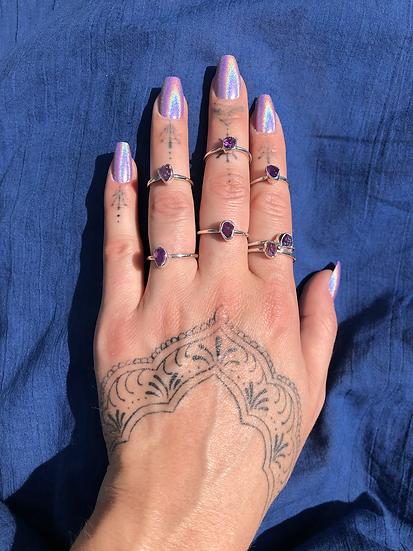 Amethyst Ring 100% Sterling Silver