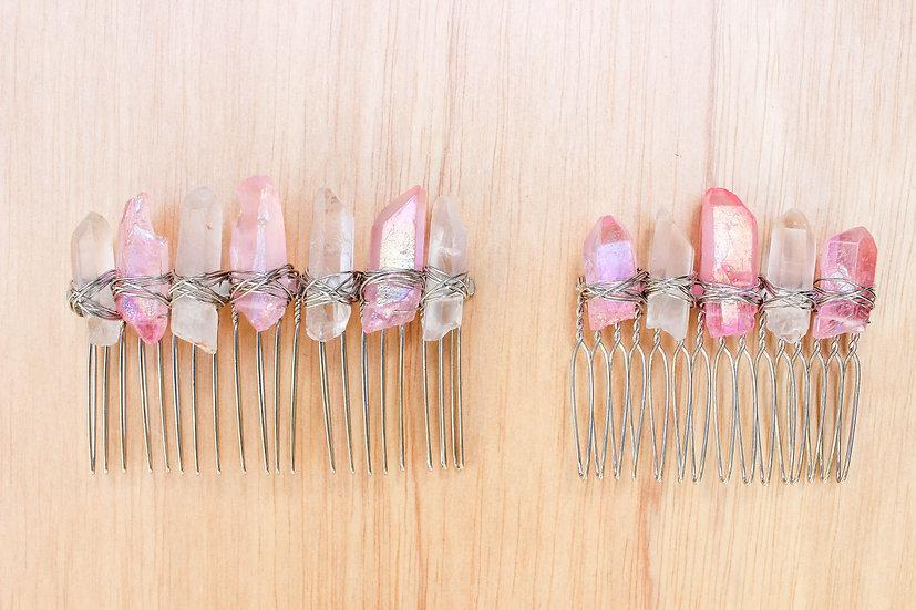 Rose Aura Silver Comb