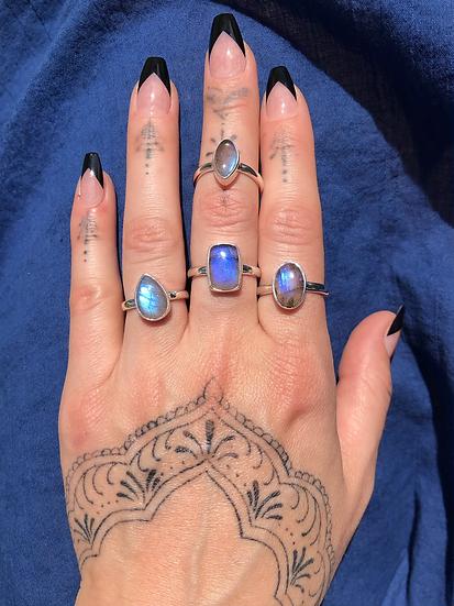 Large Labradorite Ring 100% Sterling Silver
