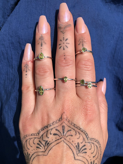 Peridot Ring 100% Sterling Silver