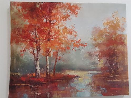 Autumn Lake Stretch Canvas Print