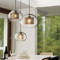 Nordic Industrial Glass Pendant Light- O