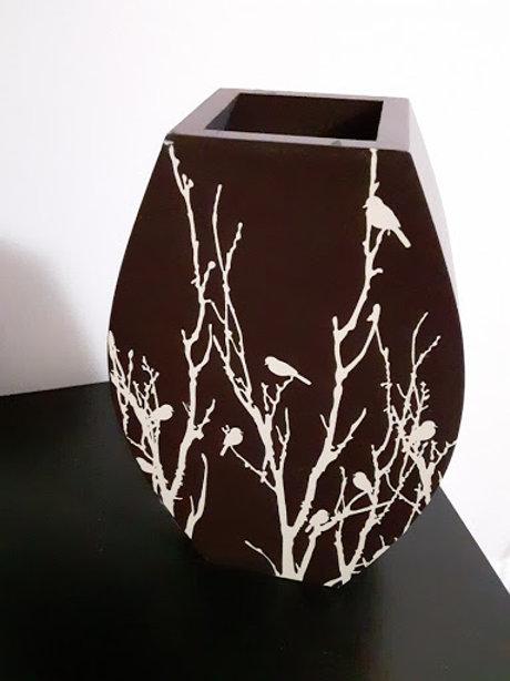 Oval-Shaped Bird Vase