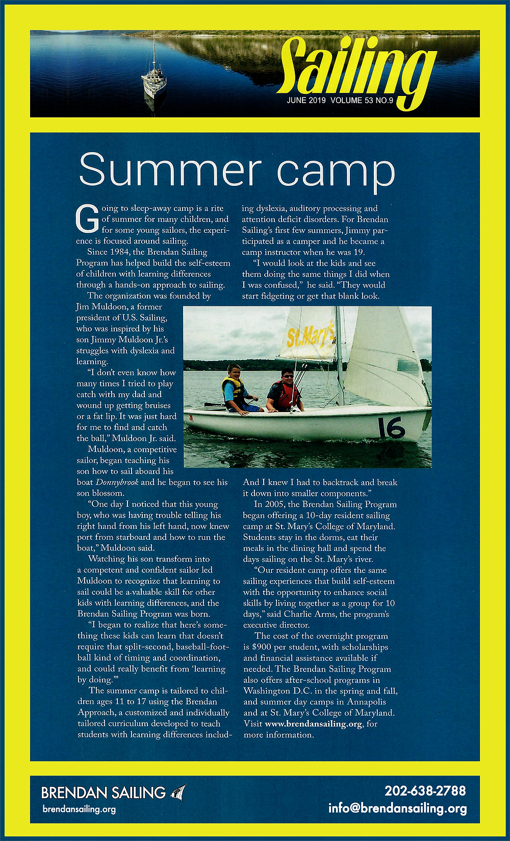 Brendan Sailing Feature in Sailing Magazine June 2019 Issue