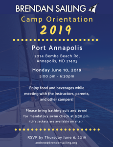 Brendan Sailing Camp Orientation 2019 at Port Annapolis